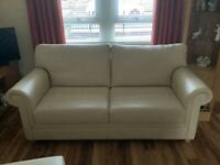 Leather Suite, Sofa and chair with footstool
