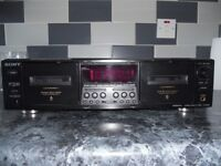 sony tc-we675 twin/double cassette deck,with manual, and rare remote control