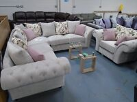 Brand New Silver Chesterfield Corner, Also Comes As A 3+2+1. Allow 2 To 3 Weeks For Delivery.