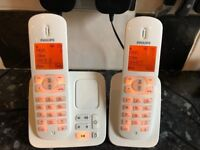 Philips CD285 DUO twin cordless phones with answering machine Fantastic Condition £20