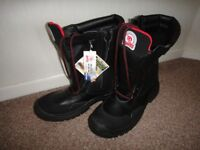 Steel toe cap safety work boots Roots long boots zip & laces size 46 UK 11 NEW