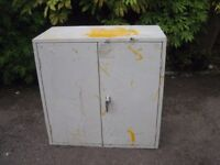 Metal storage cupboard for workshop/garage use. Good solid unit. 2 doors and inner shelf.