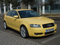 AUDI A3 2.0 FSI SPORT, 2004 04reg, lady owner, mot until may 2017, hpi clear, in ltd edition yellow