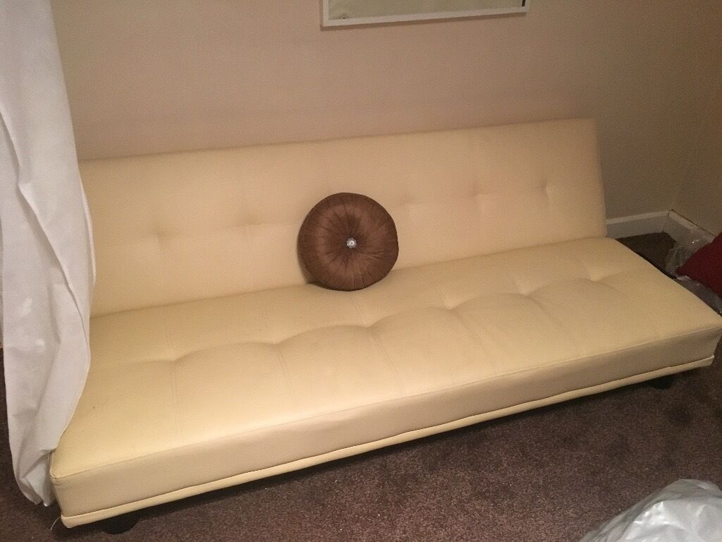 Creme Leather Sofa Bed In Leigh On Sea Essex Gumtree