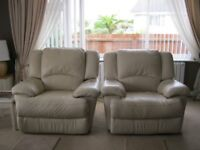 Two Cream Leather Electric Recliner Arm Chairs
