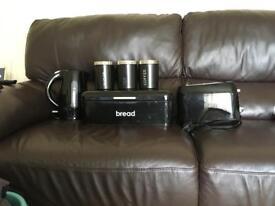 Black kettle toaster bread bin and tea coffee sugar set