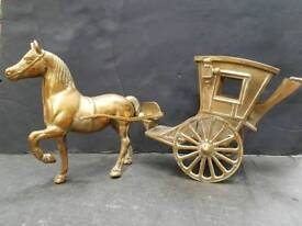 Brass horse and hansom cab