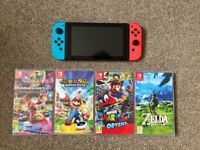 MINT Boxed Neon Nintendo Switch + 4 Top Games