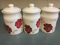 Tea, Coffee, Sugar Canister set (LIKE NEW)