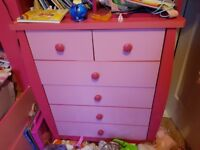 Pink bed, drawers and wardrobe set