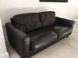 DFS brown leather 3 seater sofa - good condition