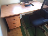Office desk, drawers and chair