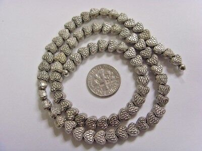 75 vintage silver tone metal strawberry heart beads lot 6.5 x 5.5 mm fv1421