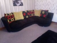 beautiful cornersofa + cuddle chair that rocks and recliners plus footstool all excellent condition