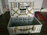 Picnic set (NEW) with basket, plates, cutlery etc.