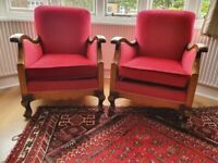 Vintage art deco armchairs upholstered in red velour.