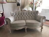 Sofa/ Settee /couch painted frame solid wood /white upholstery