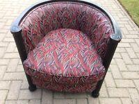 Art Deco tub chair deep re leaf design