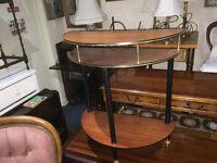 Chic Mid Century Console Table, Half Moon, Hall, Telephone, 1960s, Wood Veneer, Retro