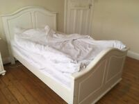 Small Double Bed: beautiful, white-painted, solid wood, French-style