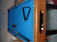 Riley pool table with balls , triangle and brush