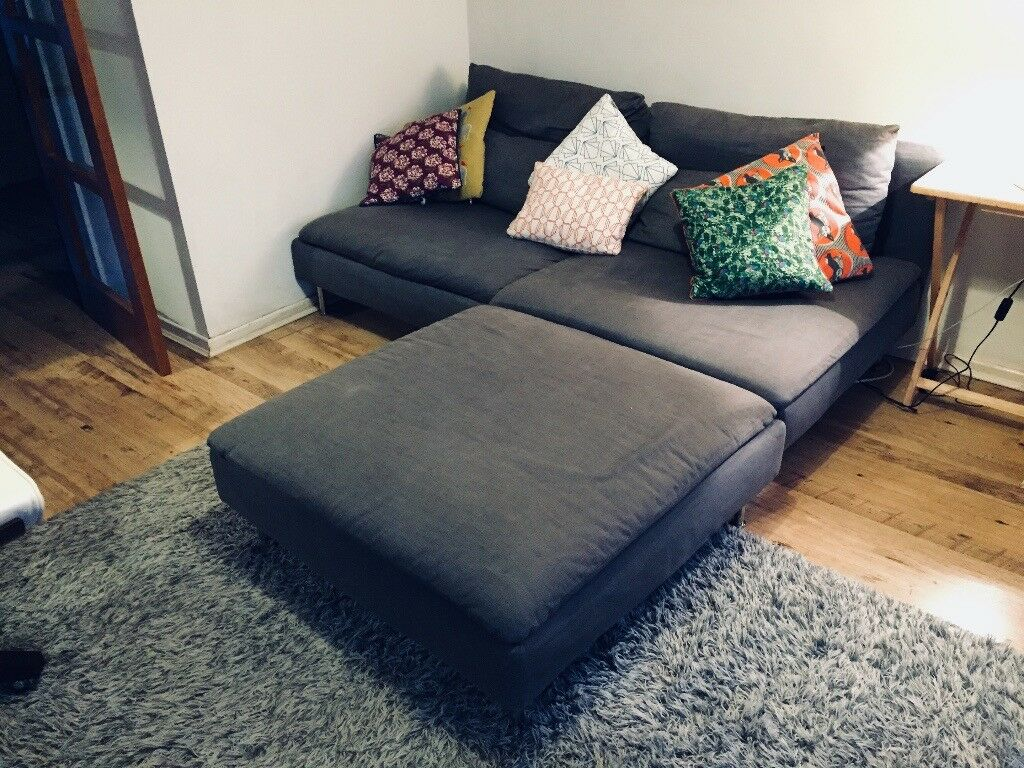 ikea soderhamn modular 3 seater sofa and footstool only. Black Bedroom Furniture Sets. Home Design Ideas