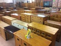 Quality used solid wood / pine chest of drawers & bedside cabinets