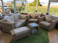 Conservatory furniture - cane 2.5 seat sofa 2 chairs side table footstool COST £1572