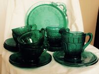 Vintage Green Glass Tea Cake Set Rose 19 Pieces Teacup Plate Saucer