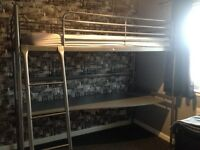 High Sleeper Bed with Desk. Less than 2 years old. Perfect condition. IKEA.