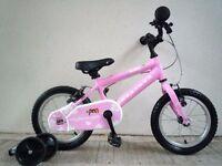 "(2091) 14"" Lightweight Aluminium RIDGEBACK Girls Bike Bicycle+ STABILISERS Age: 3-5 Height: 95-110cm"