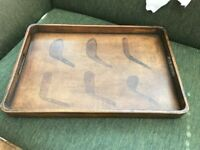 Vintage Wooden Serving Tray with Golf Design