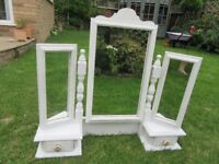 TRIPLE SWING DRESSING TABLE MIRROR LIGHTLY DISTRESSED SHABBY CHIC IN LAURA ASHLEY FURNITURE PAINT