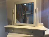 Painted Pine Mirror for dressing table with two drawers