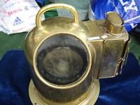 Boat's Binnacle Compass Henry Hughes London, solid brass 10ins high 7ins diameter v.good cond.
