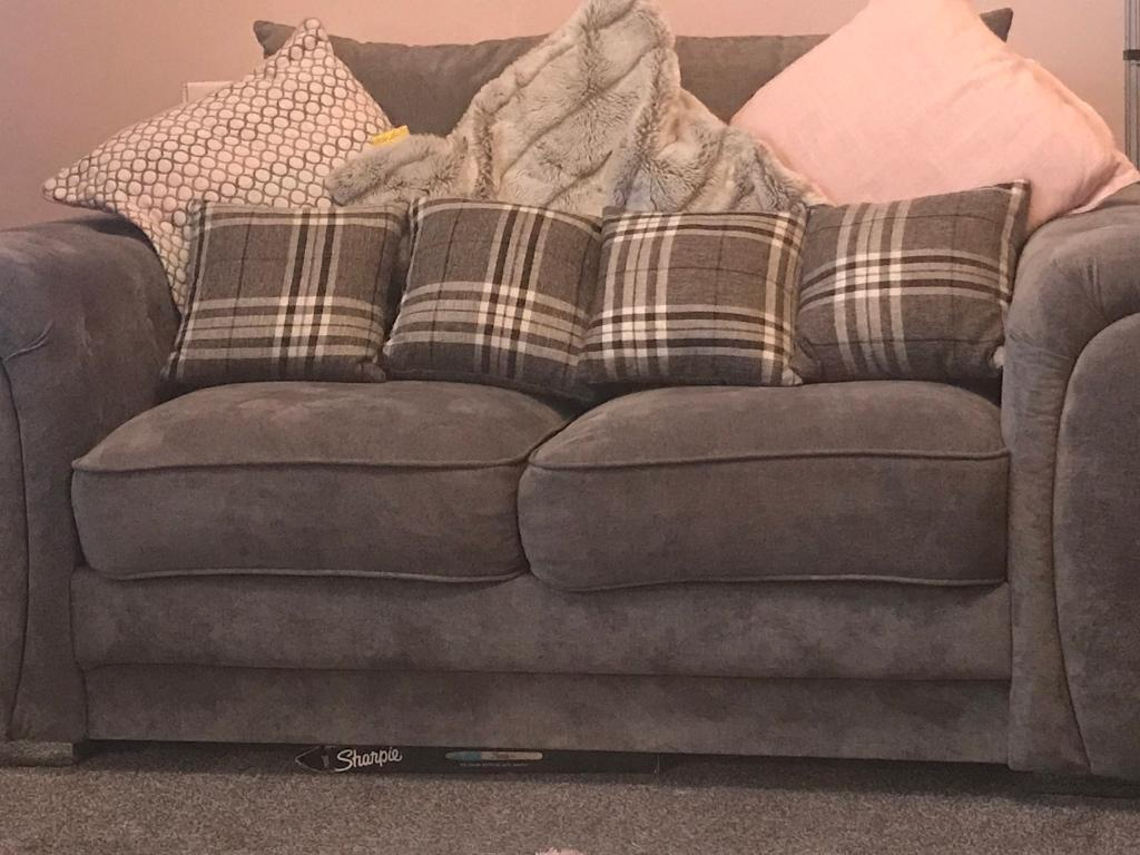 2mths Old Grey 3 2 Seater Sofas