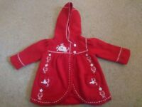 Beautiful red baby coat 3-6m