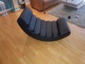 Dwell - Black faux leather large Rocker chair