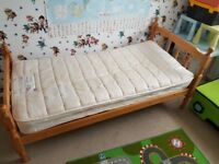 Single pine bed with good and comfy mattress