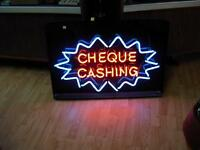 (REDUCED TO $80)Neon Cheque Cashing Sign