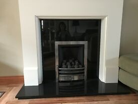 Modern Cream Mantle with Black Marble Back Panel & Hearth and Coal effect Powerflue Gas Fire