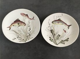 TWO OVAL FISH DESIGN PLATES BY JOHNSON BROS NOS 3 & 5 COLLECTIBLE