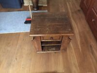 oak coffee table and magazine holder