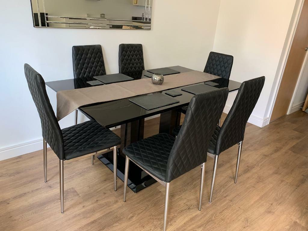 Black Dining Room Table Set 6 Chairs In Exeter Devon Gumtree
