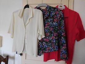 3 ladies blouses - red 14 - multi 16 - cream no sizing