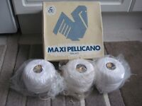 Three Brand New Gomitoli 200 Gram Reels of 100% White Cotton Yarn