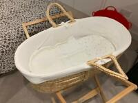 Moses basket and stand and mattress with John Lewis bedding