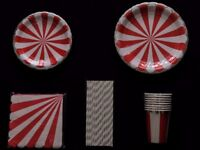 Tableware party pack. Colourful red & silver paper cups, plates, napkins & straws. Birthday party