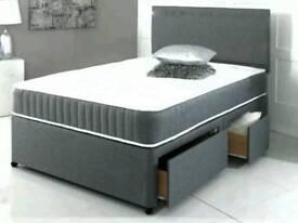 New Divan Bed 4ft6 Double with 2 drawer storage, Sprung Mattress Free Headboard
