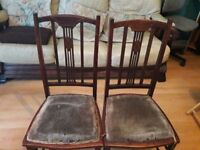 2 x dark wood bedroom chairs (vintage)